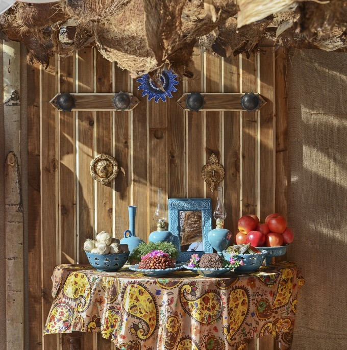 Traditional table setting  and the herald of Persian new year